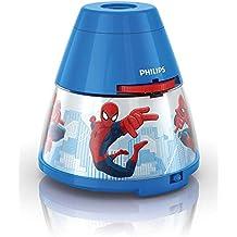 Philips Marvel Spiderman - Proyector y luz nocturna 2 en 1, luz blanca cálida, bombilla LED de 0.3 W, color azul