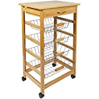 woodluv Bamboo Kitchen Storage Trolley Cart with Drawer & Wire Basket, Natural, 47x37x81 cm