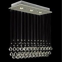 Glighone LED Deckenleuchte Kristall Hängend Kronleuchter Modern  Pendelleuchte Rain Drop Beleuchtung Mit 3 Leuchten Kristallkugel Für