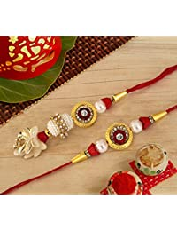 Tied Ribbons Bhaiya Bhabhi Lumba Rakhi Pair with Rakshabandhan Special Card and Roli Chawal