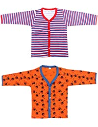 Babeezworld Baby Cotton Front Open Full Sleeves Vest Tshirt Jhabla Top Suitable For Girls & Boys (Kids Combo pack Of 2)