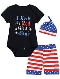 Mini Era 3PCS Baby Boys' Letter Print Short Sleeve Romper + US Flag Pants + Hat Bodysuit Clothing Set (12-18 Months)
