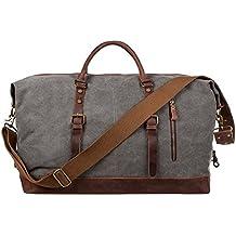 S-ZONE Größere Version Vintage Segeltuch Canvas Leder Unisex Handgepäck Reisetasche Sporttasche für Reise am Wochenend Urlaub 52 Liter Aktualisiert Updated
