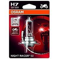 Osram 64210NR5-01B Night Racer 50 H7 Lámpara Halógena para Faro de Motos 50% Más Luz 12V 55W Casquillo Px26D Embalaje Blister Individual