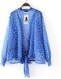 Mujeres Casual Top de Gasa Camisa de Lunares Suelta con Manga de Campana Camisas de Blusa