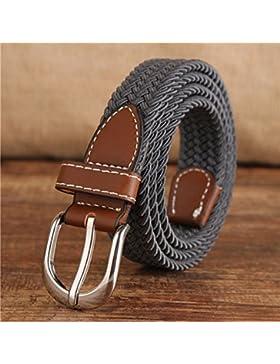 Señora cinturón de moda Deco vestido correa de cintura con cinturón de lona Gris 100cm
