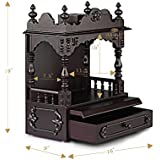 """Aakaar Idols & Temples, Wall Hanging, Handcrafted Wooden Temple/Mandap/Pooja Mandir/Home Temple Without Doors - 15"""" VO Without Dome for Home & Office"""