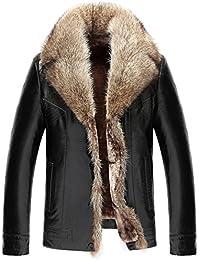 YYZYY Herren Luxuriös Winter Warm Klassik Schaffell Leder Pelz Fur Mäntel  Jacken Waschbär Pelz Kragen WinterJacke WinterMäntel… 6968c41e57