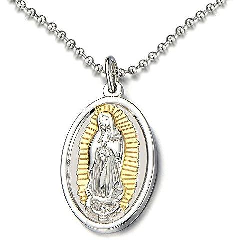 Plata Oro Medalla Milagrosa Virgen María Marry, Collar con Colgante de Hombre de Mujer, Acero, Bola Cadena