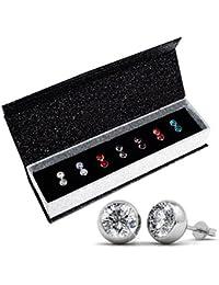 Kristall aus SWAROVSKI - Luxus-Swarovski Kristall Ohrstecker-Set mit 7 Paaren, mit 18K Weißgold überzogene Ohrringe - mit Geschenkbox (rundes Modell)