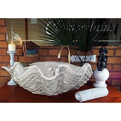 Muted Gris Clam Shell Sculptured 70cm de ancho de mano de baño lavabo cromo accesorios de madera