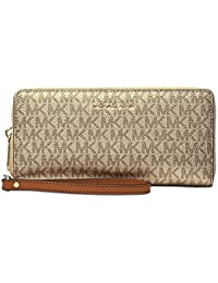 356ffde856c361 Michael Kors Boxed Metallic Travel Continental Wallet with Signature MK  Print (Gold…