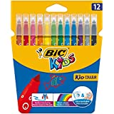 BIC Kids Kid Couleur Felt Tip Colouring Pens - Assorted Colours, Cardboard Wallet of 12