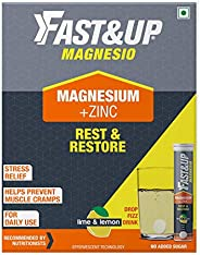 Fast&Up Magnesio - Magnesium and Zinc for Muscle Health and Stress - 60 Effervescent Tablets - Lime and Le