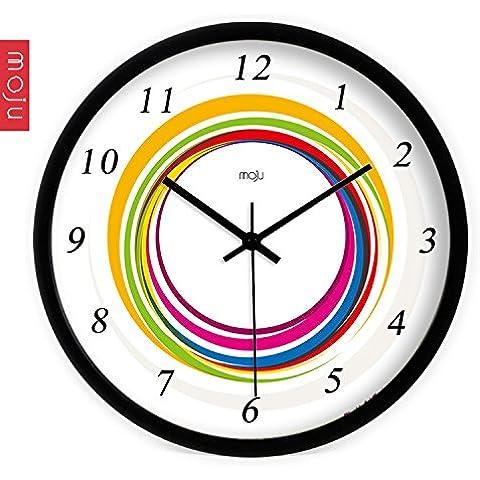 Henggang Cuadro blanco de 12 pulgadas, el Molino de Viento China Home Office Decoración Moda creativa vida moderna decoración colorida regalo único silencio adhesivo de pared Reloj de pared