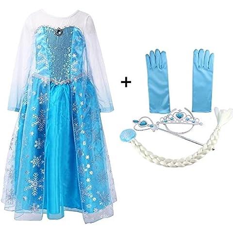 Vicloon Princesa Disfraz Traje, Vestido Reina de la Nieve de Fairy Tale Designs, Zapatos y Accesorios para