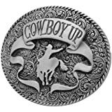 Large Cowboy Up Horse Brushed Silver Western Rodeo New Belt Buckle!