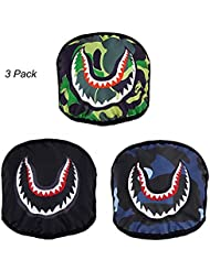 3 Pacs Shark Pattern Mouth Mask Unisex Breathable Windproof Anti-dust Mask Personalized Halloween Face Mask Cotton Mouth Cover Novelty Costume Face Mask with Stretched Elastic Earloop