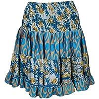 Mogul Interior Kayla Womens Flirty Short Skirt Upcycled Silk Tiered Beach Holiday Sexy Skirts