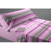 Juego de sábanas ESTAMPADO para cama de 150 cm. Incluye 3 piezas (Sábana encimera+Bajera+Funda almohada).Muy suave, cómoda, con un original y actual diseño. 1016017955018