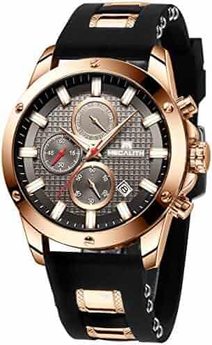 Men's Watches Military Sport Waterproof Chronograph Luxury Large Watch Man Date Luminous Analogue Quartz Rubber Watch