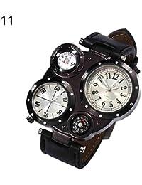 Relojes de pulsera de moda para hombre, con mecanismo dual de cuarzo, resistente al agua, termómetro, brújula,…