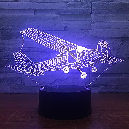 KangYD Segelflugzeug 3D LED Lampe, Nachtlicht, Atmosphäre Lampe, Geburtstagsgeschenk, Touch 7 Farbe (schwarzer Sockel),Atmosphärenlampe (Stecker & Sockel Kostüm)