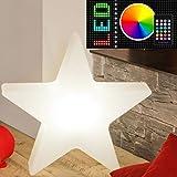 MIA Light Deko Stern Leuchte Aussen Ø400mm/RGB/Dimmbar/Fernbedienung/Modern/Weiß/Kunststoff/Lampe Aussenlampe Aussenleuchte Gartenlampe Gartenleuchte