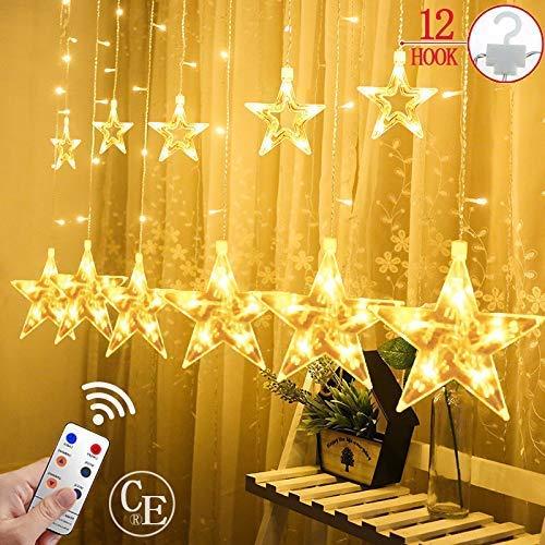 CREASHINE Lichterkette mit 12 Sterne, Innen & Außen Lichtervorhang Sternenvorhang mit 8 Blinkmodi IP65 Wasserdicht, Dekoration für Weihnachten, Party, Balkon, Garten usw. Warmweiß