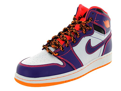Nike Air Jordan 1 Retro High Bg, Chaussures de Sport-Basketball Garçon Multicolore - Morado / Rojo / Blanco (Crt Prpl / Brght Crmsn-White-Brg)