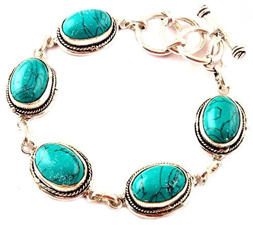 Los artesanos indie pulsera de la turquesa de la piedra preciosa simulada 925 plateado pulsera de las mujeres