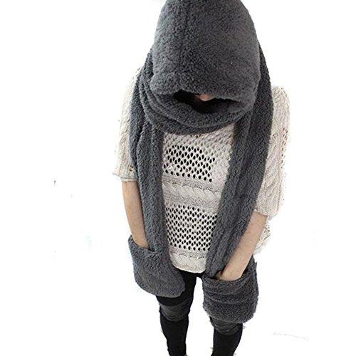 Butterme Pure Color modo delle donne inverno caldo di lana con cappuccio Beanie Cap Hat Sciarpa Guanti 3 in 1 Tutto in un unico morbido Hood Cappelli Sciarpa Guanti migliore regalo di natale