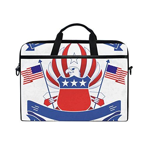 American Eagle Handtasche (Ahomy 14 Zoll Laptoptasche, American Flag Bald Eagle Canvas Stoff Laptop Tasche Bussiness Handtasche mit Schultergurt für Damen und Herren)