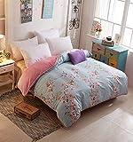 VIOY Bettwäsche Artikel Blumen/Floral Cozy Striped 100% Baumwolle Bettbezug-C 160X200Cm (63X79Inch),180 * 220cm (71x87inch),C