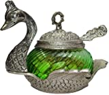 JaipurCrafts Antique Peacock Aluminium, Glass Decorative Platter (Green, Silver)