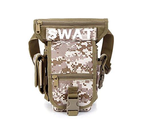 F@Esercito di tasca gamba Camo tactical MOLLE EDC borsa / sport gamba bottino tattico softair militare goccia gamba coscia utilità cintura gamba borsa per moto bici all'aperto , desert desert