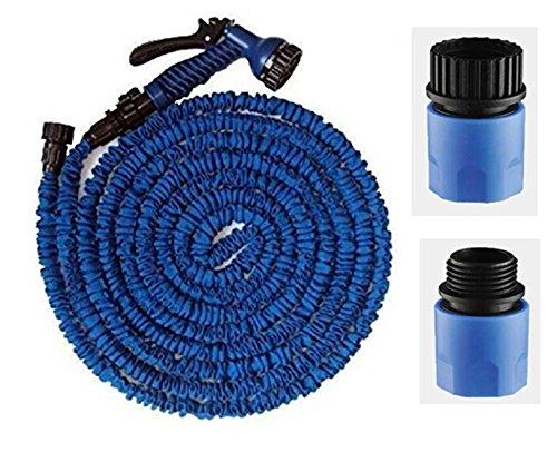 Topways 100 m Bleu extensible Flexible tuyau d'arrosage avec embout vaporisateur Quick Connect Spray pour robinet et tuyau de jardin extensible