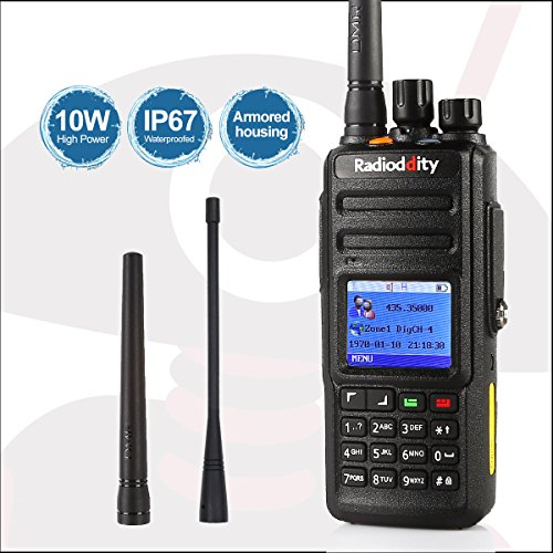 Radioddity GD-55 10-Watt High Power IP67 Waterproof DMR Digital Radio Walkie Talkie with GPS Function, Submersible Two-Way Radio with 2800mAh Lithium-Polymer Battery & 2 Antenna, Transceiver Compatible with MOTOTRBO, Black