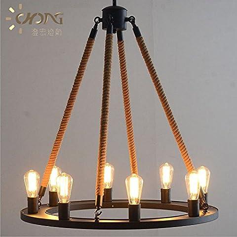 ZSQ Brief creativo sui lampadari industriali decorato con lampadari retrò pendente corda luce L lo spago #344 - Mason Spago