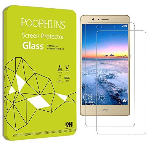 Huawei P9 lite Schutzfolie, POOPHUNS 2Stück Panzerglas P9 lite, Huawei P9 lite Displayschutzfolie, 9H Härtegrad, 99% Transparenz Full HD, Einfaches Anbringen