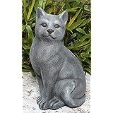 Statue en pierre chat assis, grand format, gris ardoise, pierre reconstituée