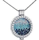 Unendlich U Kreativ Silber Damen Halskette Blaues Meer Legierung Kristall Austauschbare Münze Anhänger Vertellbare Pullover Kette