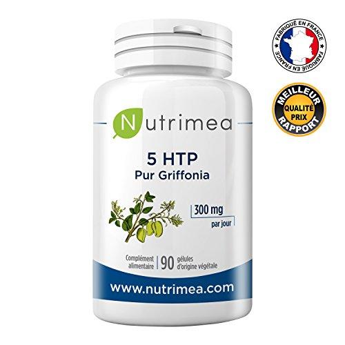 5HTP 100% naturel extrait de graine de Griffonia ⭐️ – 300 mg / jour de 5HTP Améliore le sommeil, diminue le stress et l'anxiété – Stimule la sérotonine – Coupe-faim naturel - FABRICATION FRANCAISE – 90 gélules végétales ⭐️ SATISFAIT OU REMBOURSE