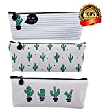Hosaire 3 Piezas Caja de Escritorio Estuches Lápices Bolsa de Lápices Plumas Bolígrafos Material Lona para Escolar Papelería Escuela