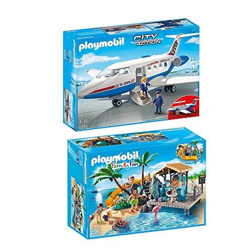 Preisvergleich Produktbild PLAYMOBIL® Family Fun 2er Set 6979 5395 Karibikinsel mit Strandbar + Passagierflugzeug