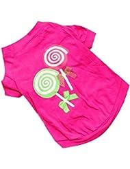 Elyseesen Chien Pet vêtements Summer rose princesse Lollipop gilet T-Shirts sans manches vêtements