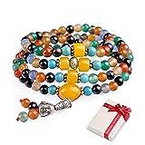 8mm Edelstein Armband mit 108 Perlen Buddhistische Tibetische Gebetskette, Buddha Mala Kette Halskette...