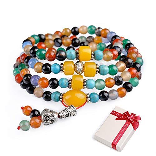 8mm Edelstein Armband mit 108 Perlen Buddhistische Tibetische Gebetskette, Buddha Mala Kette Halskette Schmuck für Yoga Meditation 108 Mala Halskette Gebetsarmband für Damen und Herren