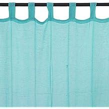 Premium-Cortina con trabillas () 250 x 110 cm, color azul turquesa y unidos, estilo unidos: