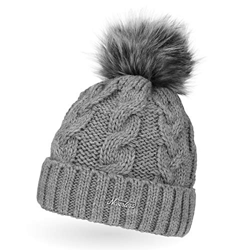 Neverless Damen Strick-Mütze gefüttert mit Fell-Bommel, Kunstfell, Winter-Mütze, Bommelmütze, Hellgrau Unisize
